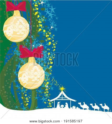 Birth of Jesus in Bethlehem - abstract card , vector illustration