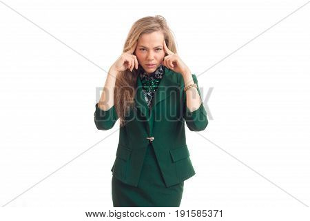 beautiful young blonde girl in costume keeps her fingers sideburns isolated on white background