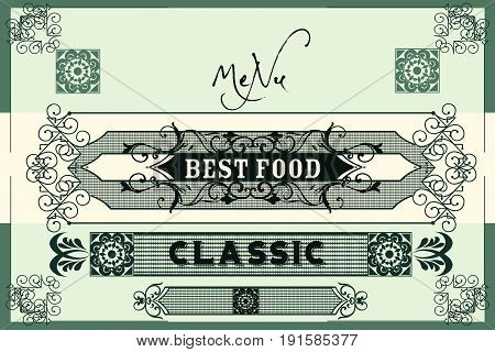 Elegant vector menu design or invitation in royal style with flourishes.Classic victorian style