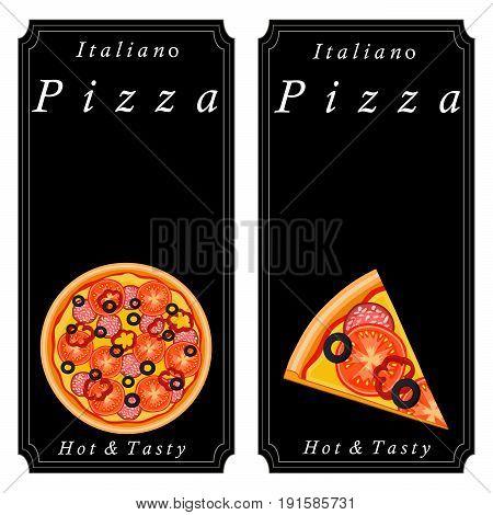 Vector logo illustration for pizzeria menu,sliced triangle,whole hot pizza.