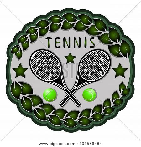 Abstract vector illustration of logo for game tennis flying green ball,racket closeup white background.Tennis drawing consisting of summer fitness sports equipment rackets.