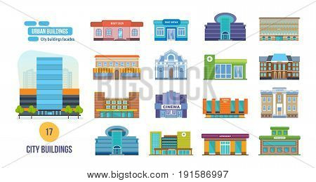 Big set of urban buildings: salon, post office, cinema, school, hotel, shop, museum, pharmacy, university, mall, shopping, center, library, supermarket. City building facades.