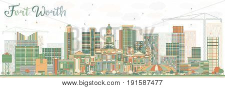 Abstract Fort Worth Skyline with Color Buildings. Business Travel and Tourism Concept with Modern Architecture. Image for Presentation Banner Placard and Web Site.
