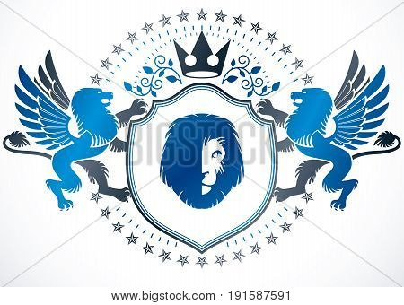 Classy emblem vector heraldic Coat of Arms composed with mythic griffon royal crown and lion head illustration heraldic vector.