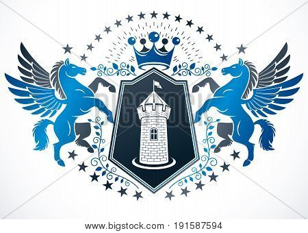 Classy emblem vector heraldic Coat of Arms created using mythic Pegasus illustration ancient castle and imperial crown.