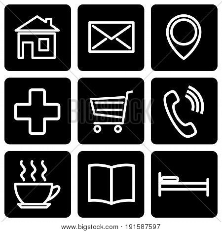 A set of stencils for map icons. Vector illustration.