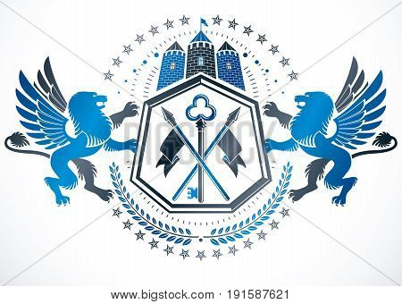 Classy emblem vector heraldic Coat of Arms created using ancient tower and mythic gryphons.