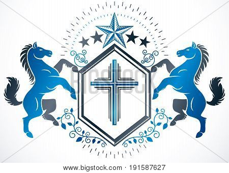Classy emblem vector heraldic Coat of Arms created with religious cross graceful horse illustration and royal crown.