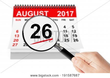 Women's Equality Day Concept. 26 August 2017 calendar with magnifier on a white background