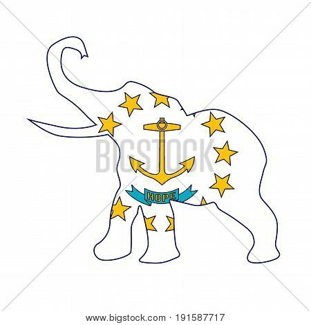 The Rhode Island Republican elephant flag over a white background