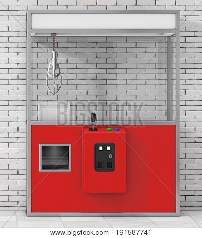 Empty Carnival Red Toy Claw Crane Arcade Machine in front of brick wall. 3d Rendering.