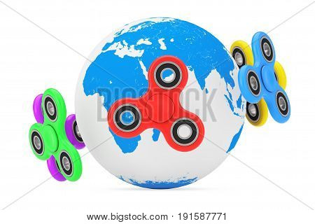 Milticolour Fidget Finger Spinners Antistress Toy around Earth Globe on a white background. 3d Rendering.