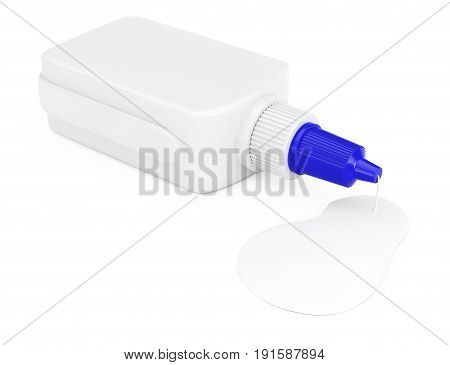 Glue Leak from White Glue Bottle with Spreader Cap on a white background. 3d Rendering.