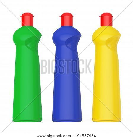 Multicolour Plastic Bottles for Liquid Detergent on a white background. 3d Rendering.