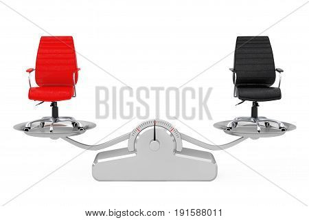 Red and Black Leather Boss Office Chairs Balancing on a Simple Weighting Scale on a white background. 3d Rendering.