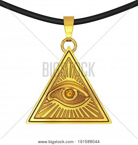 Masonic Symbol Concept. All Seeing Eye inside Pyramid Triangle as Coulomb Amulet on a white background. 3d Rendering.