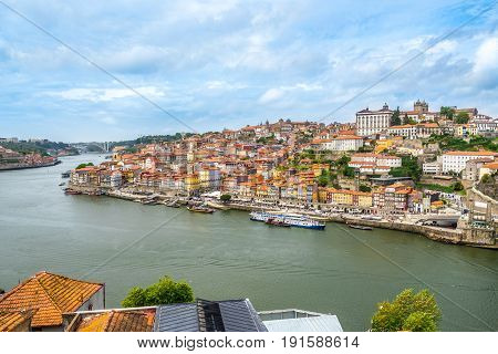 View at the Ribeira - embankment of Douro river in Porto - Portugal
