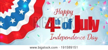 Happy 4th of July, Independence Day greeting card horizontal banner with a cracker and confetti, paper patriotic bunting. Happy July Fourth. Vector