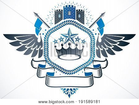 Vintage emblem made in vector heraldic design. Winged vector emblem composed with medieval castle imperial crown and pentagonal stars.