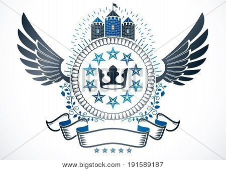 Vector emblem made in vintage heraldic design. Winged vector insignia composed with medieval castle imperial crown and pentagonal stars.