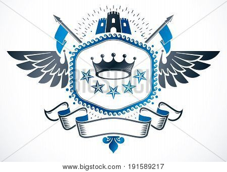 Vector emblem made in vintage heraldic design. Winged vector blazon composed with medieval castle imperial crown and pentagonal stars.