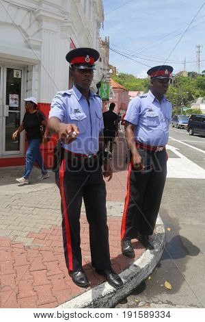 ST. GEORGE'S, GRENADA - JUNE 12, 2017: Royal Grenada Police officers in St. George's, Grenada