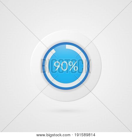 90 percent blue white pie chart. Percentage vector infographics. Ninety Circle diagram isolated symbol on gradient background. Business illustration icon for marketing presentation project data report information plan web design