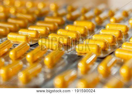 Yellow Pills In A Blister Pack Closeup