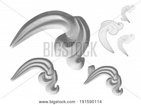 Carved decor isolated on a white background