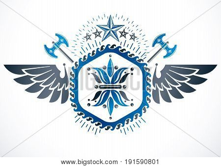 Vector winged emblem made in vintage heraldic design. Heraldry insignia decorated using lily flower and ancient hatchets