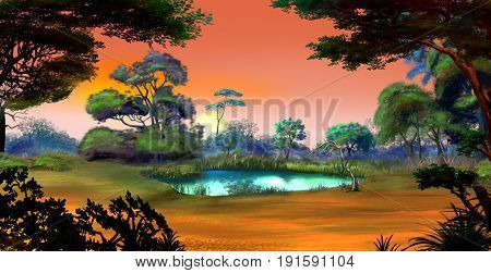 Idyllic View of the Small Pond on a Forest Glade Surrounded by Trees at Dawn. Digital Painting Background Illustration in cartoon style character.
