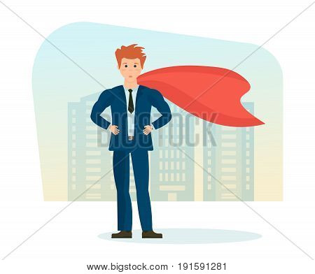 Businessman is a superhero, in beautiful business clothes on background of street city. Young men character, superhero, in full growth. Vector illustration, people in cartoon style.