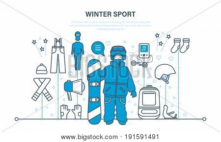 Set for creating a character, winter sport, snowboard sport clothes and tools elements. Man with a snowboard on a snowy hillock. Illustration thin line design of vector doodles, infographics elements.