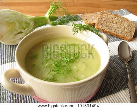 Fennel cream soup covering with fennel leaves