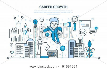 Career growth, leadership development, success in work, progress in education, self-improvement, improving personal qualities. Illustration thin line design of vector doodles, infographics elements.