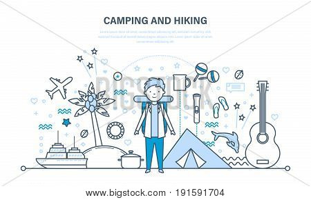 Camping and hiking concept. Summer travel, hiking equipment and active rest outdoors. Illustration thin line design of vector doodles, infographics elements.