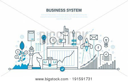 Business system, start-up, investment growth, communications with social networks, planning, analysis and research, business strategy, workflow. Illustration thin line design of vector doodles.