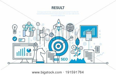 Concept for business success, financial results, banking, earnings growth and revenue, investment, stock market, results of activities. Illustration thin line design of vector doodles
