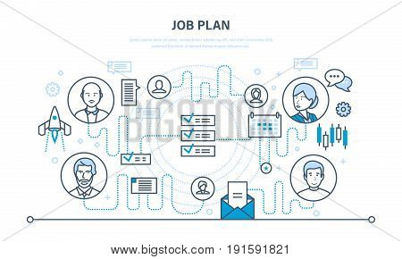 Job plan, time management, organization, planning, communication, event planner. Illustration thin line design of vector doodles, infographics elements