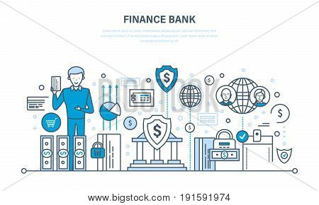 Finance bank, online banking, protection, guarantee payment security, finance, cash deposits, purchases, money transfers. Illustration thin line design of vector doodles, infographics elements. poster
