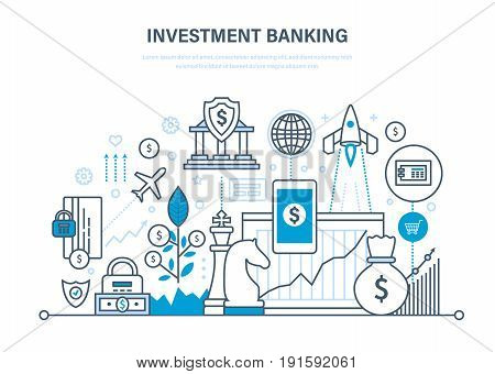Financial investments, marketing, online banking, security of guaranteed payments, transactions, investments banking, investment growth and profit. Illustration thin line design of vector doodles.