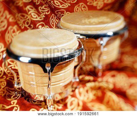 bongo drum or bongos, music instrument,  selective focus