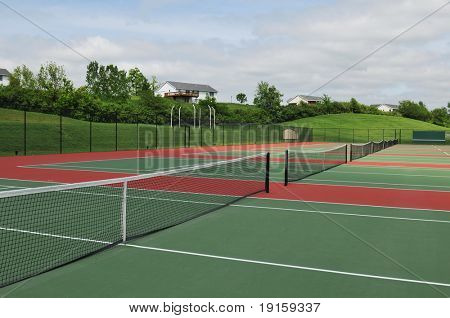 Tennis courts view outdoors on a sunny day