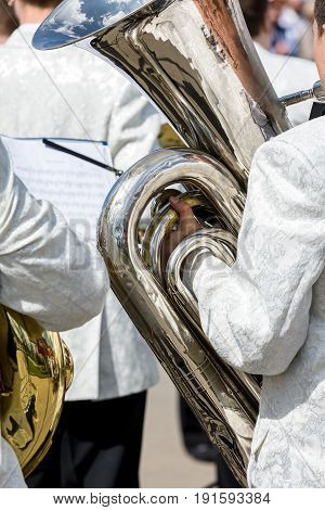 Orchestra Musicians Playing Tubas During The Fest Performance