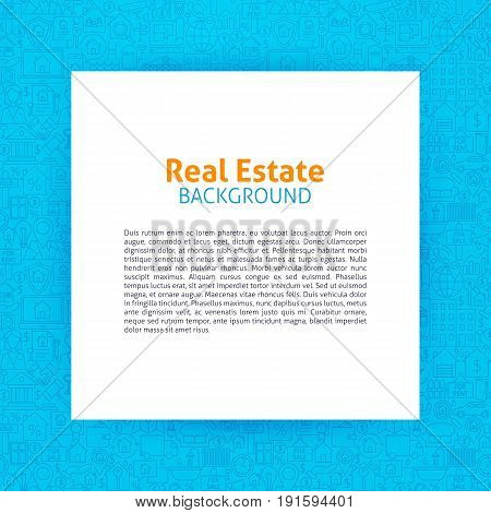 Real Estate Paper Template. Vector Illustration of Paper over House and Building Outline Design.