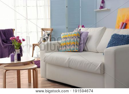 Modern interior with lilac accent