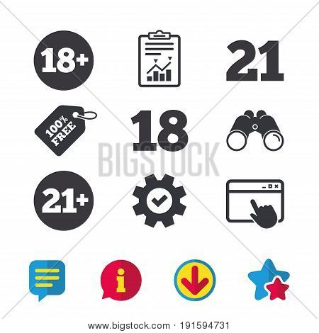 Adult content icons. Eighteen and twenty-one plus years sign symbols. Browser window, Report and Service signs. Binoculars, Information and Download icons. Stars and Chat. Vector