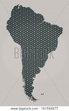 South American Continent Map With Stars And Ornaments