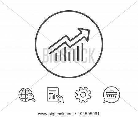 Chart line icon. Report graph or Sales growth sign. Analysis and Statistics data symbol. Hold Report, Service and Global search line signs. Shopping cart icon. Editable stroke. Vector