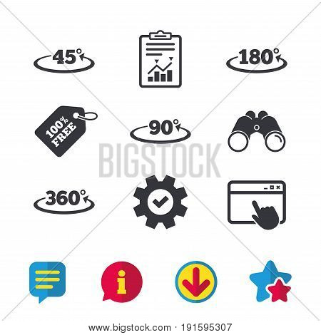 Angle 45-360 degrees icons. Geometry math signs symbols. Full complete rotation arrow. Browser window, Report and Service signs. Binoculars, Information and Download icons. Stars and Chat. Vector